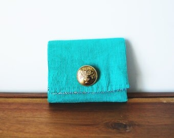 CLEARANCE-- Teal Corduroy Business Card Holder with Adorned Button