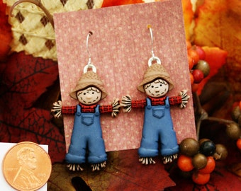 scarecrow earrings thanksgiving earrings fall earrings holiday earrings brockus creations