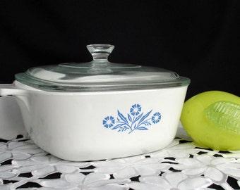 Vintage Corning Ware Cornflower Blue 1.5 QUART  Casserole Dish with Pyrex Glass Lid P-1 1/2-B
