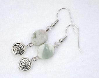 Peace Jade Dangle Earrings - Celtic Knot Earrings - Bohemian Earrings - Green and Silver - Peridot Earrings - August Birthday - Gift Idea