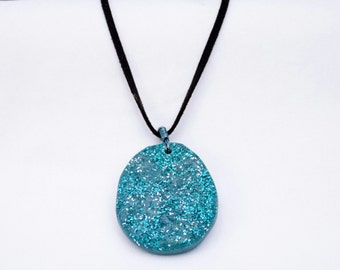 Polymer Clay Faux Druzy Necklace - Felt Cord Necklace - Polymer Clay Pendant - Pendant Necklace - Casual Jewelry - OOAK Pendant Necklace