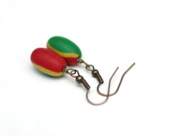 Rasta Earrings - Dangle Earrings - Red Yellow Green - Rastafarian Polymer Clay Earrings - Casual Earrings - Pierced Earrings - Antique Gold