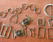 Vintage Silver Toned clothing crafting buckles glides  slides - lot of 9 - sewing notions