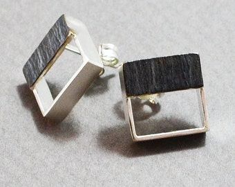 Small square silver 925 earrings, black platinum plated, silver earrings 925