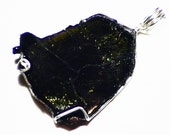Green Tourmaline Slice (22 ct.) Pendant in Sterling
