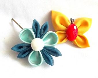 Butterfly and Flower Whimsical Hair Pins Wearable Fiber Art Kanzashi