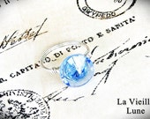 Blue Vintage Button Ring, Upcycled Button, Glass Button Wire Wrapped Ring, Button Jewelry, Upcycled Jewelry