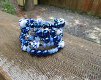 Blue and White Memory Wire Wrap Bracelet Beaded Wrap Memory Wire Coiled Spring Bracelet Dark Blue and White