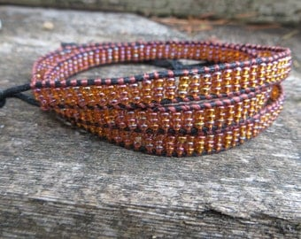 Beaded Triple Wrap Bracelet Copper Glass Beads With a Rainbow Finish