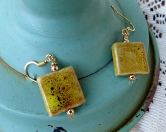 Ceramic Square Drop Earrings Earthtones Handmade Unique Jewelry Goldtone