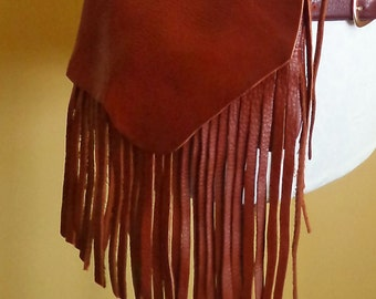 brown leather handbag, hip bag belt bag with fringe by Tuscada. Ready to ship.