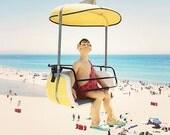 "Santa Cruz California Boardwalk, Sky Gliders, Yellow Blue Beach Decor, California Beach Art, Colorful Wall Art, ""Cave Man"""