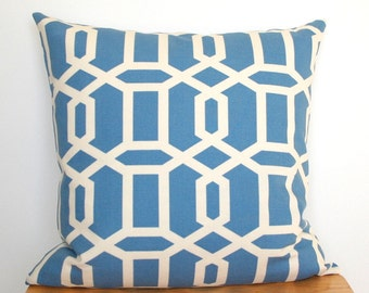 Blue Geometric Pillow Cover, Blue White Throw Pillow, Blue Cushion, 18x18 Throw Pillow, Wedgewood Blue Pillow