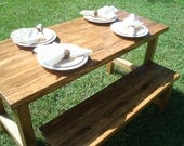Table and Bench Wood Table Dining Table Reclaimed Wood Wood Table and Bench