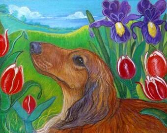 Dachshund art painting pet portrait tulips iris ORIGINAL Dog animal Painting dachshund pets dogs whimsy
