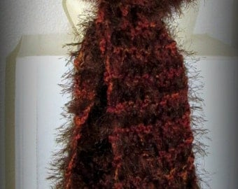 Brown knit scarf - brown scarf - brown furry scarf - brown soft scarf - hand knit scarf - brown hand knit scarf - fancy knit scarf - scarf
