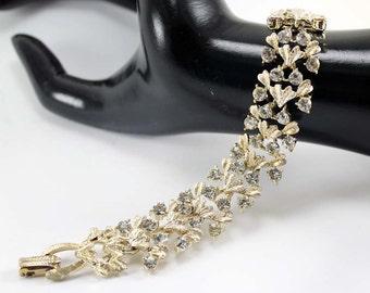 Vintage Signed Coro Crystal Rhinestone and Textured Gold-Tone Metal Bracelet