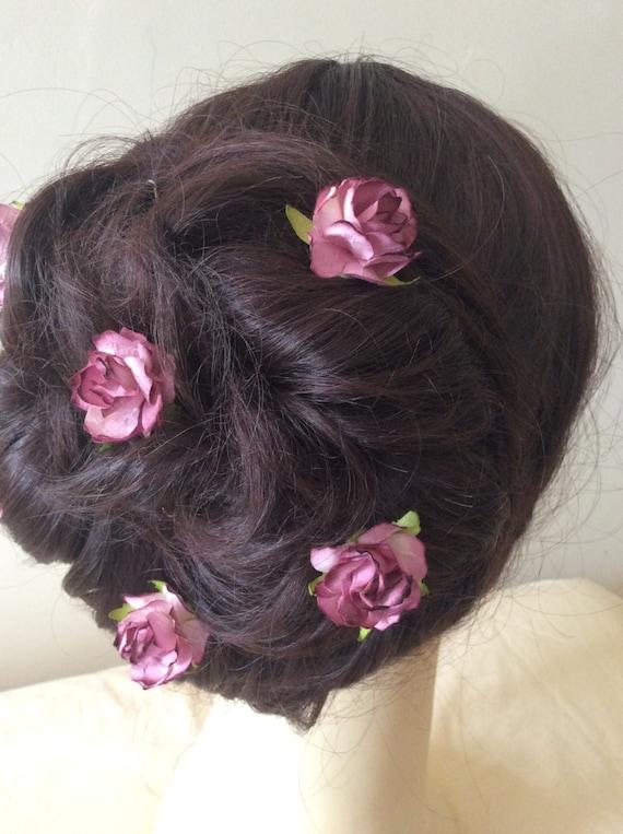 Dark Mauve Rose Hairpins x 8. Wedding, Bridal, Regency, Victorian