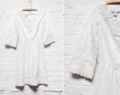 70s White Embroidered Dress S • Cloud Bell Sleeve Dress Small | D385