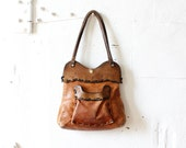 60s / 70s Tooled Brown Leather Tote • Boho Distressed Leather Bag • Handmade Brown Leather Tote Bag  | B491