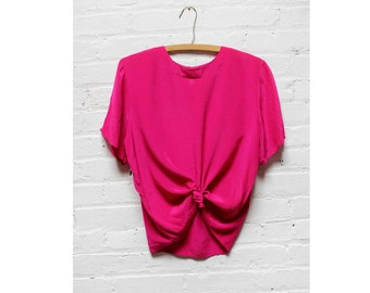 Magenta Silk Tee S/M • Boxy Pink Blouse 80s Top | T275