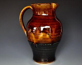 Sunset Pottery Pitcher Stoneware Ceramic Pitcher Hand Made Pottery Jug C
