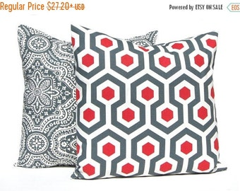 SALE Decorative Pillow Covers, Red Pillow Covers, Red Gray, Red Throw Pillow, Toss Pillow, Throw Pillow Cover Pair of Two Red Pillows Ruby R
