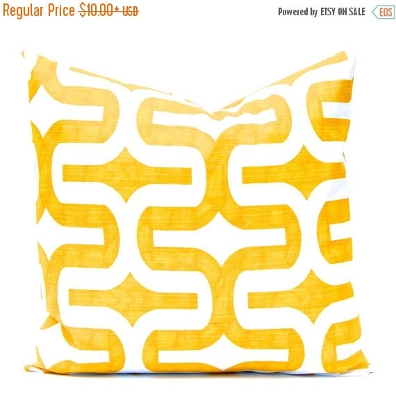 SALE Yellow Pillow Cover, Yellow Cushion Cover, Decorative Throw Pillows, Throw Pillow Cushion Covers - Yellow and White Geometric Design