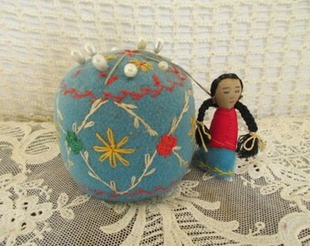 Vintage Blue Embroidered Pincushion - Native American Girl - Red Yellow Flowers - Sewing Quilting Studio Decor