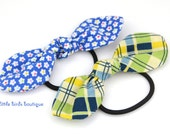 Top Knot Bow Hair Clip, Pony Tail Hair Tie in Blue Daisies or Blue Green Yellow Plaid