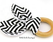 All Natural Wood Baby Teething Ring- Black Chevron Remix Ann Kelle - Great Gender Neutral, Shower Gift