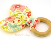 All Natural Wood Baby Teething Ring- The Sweetest Thing, Floral, Riley Blake - Great Shower Gift