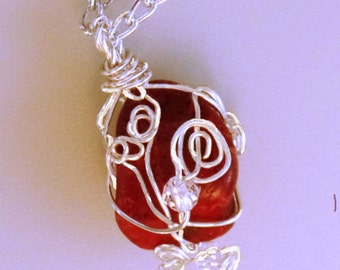 Hand Made necklace, Tumbled Red Jasper, Crystals, Wire wrapped, silver color, Peace, Tranquility, Self-Confidence, Imagination