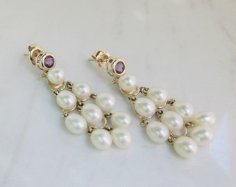 Vintage 14k Solid Yellow Gold Amethyst and Pearl Chandelier Pierced Stud Earrings