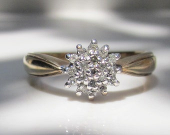 Vintage 10k Solid Yellow Gold Diamond Cluster Ring, Size 6.5