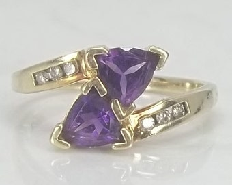 Vintage Twin Trillion Cut Amethyst and Diamond Bypass Ring Set in Solid 10k Gold, Size 7