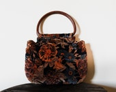 70s Brown and Orange Quilted Velvety Floral Hobo Bag with Round Wooden Handel.