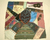Beautifully Embroidered Silk and Velvet Antique Crazy Quilt Block for Pillow or Framing - 18 x 18 Inches - Leaf, Guitar, Butterflies, Bunny