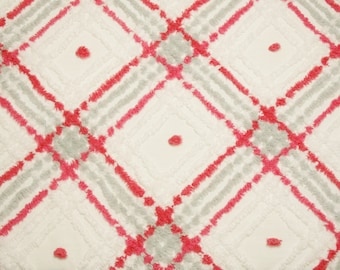 24 by 24 Inches - Grey, Red and White Plaid Vintage Chenille Bedspread Fabric Piece