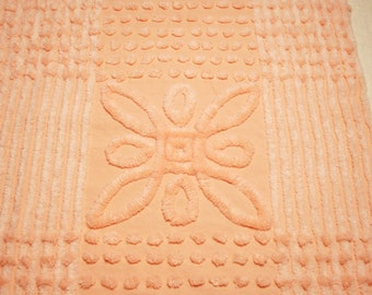33 x 20 Inches - Yummy Peach and Cantaloupe Vintage Chenille Bedspread Fabric Piece