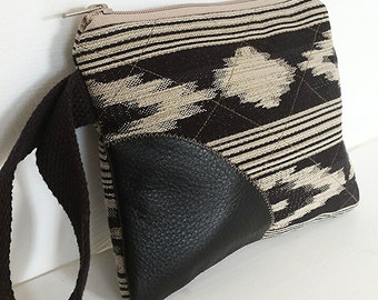 Clutch Purse, Ikat Fabric Wristlet, Black Leather Clutch, Zippered Pouch