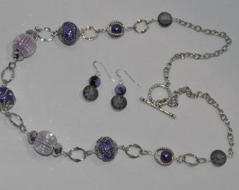 Purple long necklace set