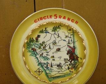 Circle 5 Ranch Vintage Ashtray - Coffee Table Art - Desk Organizer - 22 K Gold - Hycroft - Medicine Hat, Alberta - Montana