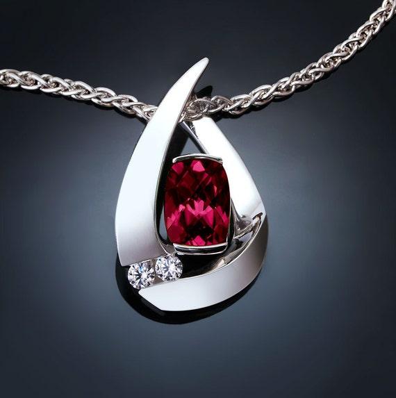 garnet necklace, January birthstone, Rhodolite garnet, white sapphires, anniversary gift, fine jewelry, Argentium silver 3378