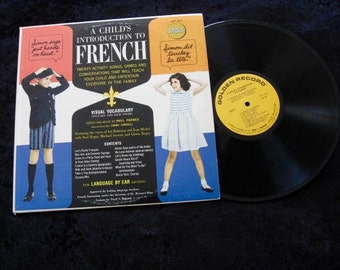 A Child's Introduction to FRENCH Songs 1960's  Vinyl lp Record Golden Records Exc