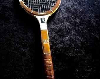 Vintage Chris Evert Wilson Wood Tennis Racquet  Leather Grip 4 1/2 L Ex.