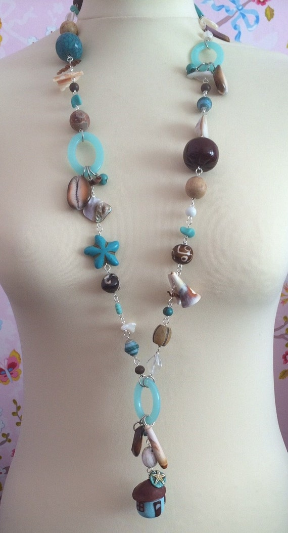 Necklace summer beach turquoise shell brown