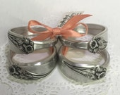"""Silver Napkin Rings from Vintage Spoons, Silverware Napkin Wraps, Table Decor - """"Daffodil"""", Set of 4"""