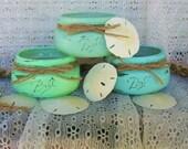 3 Robin's Egg Blue, Sea Foam Green & Pea Shoot Green Mason Jars with a Distressed Faux Finish