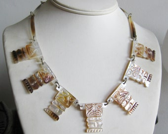 Vintage 50s Carved Hawaiian Tiki Mother of Pearl Necklace